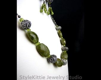 Vesuvianite, Peridot, Set, Dangle Earring, 925 Sterling Silver, Adjustable, Chain, Oxidized Ornate Bali, Green Gemstone, Idocrase, Jewelry