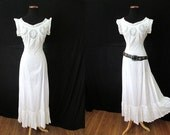 CLEARANCE Lovely 1900's Victorian Cotton and Lace Slip/ Dress with Deep Lace Hem Boho Chic Bohemian Pinup Girl Size-Medium-Large