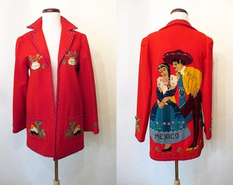 "Amazing 1940's Lipstick Red Mexican Tourist Jacket w/ Hand Applique by ""Berty Creations"" Vintage Western Jacket Mexicana Size-Small/Medium"