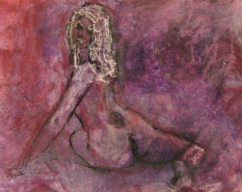 Abstract Erotic encaustic beeswax painting