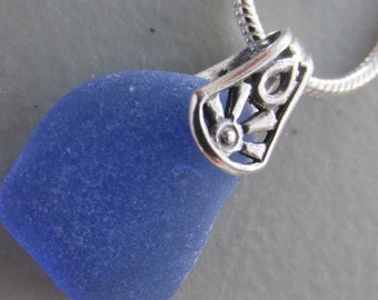 Blue Sea Glass Necklace, Sea Glass Jewelry, Sea Glass Necklace, Beach Glass Pendant, Sea Glass Gift, Gift for Her, bridesmaid Gift