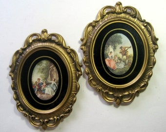 Gold Framed Vintage Prints, Framed Renaissance Prints, Vintage Framed Prints, Ornate Framed Florentine Prints, Gold Oval Frame Prints