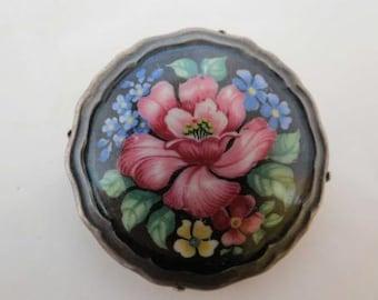 1920's Rosenthall Selb-Bavaria Vibrant Floral Porcelain Brooch