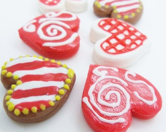 Miniature Foods, Polymer Clay Supply Bavarian Gingerbread for Beaded jewelry, 6 pieces