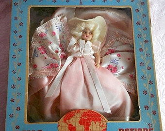 Vintage 1940s DUCHESS DOLL of all NATION Box 7 1/2 inch Sleep Eyes Dolly Madison Girl Floral Dress Pink Rose Blue Bow Satin Trim Blond Hair