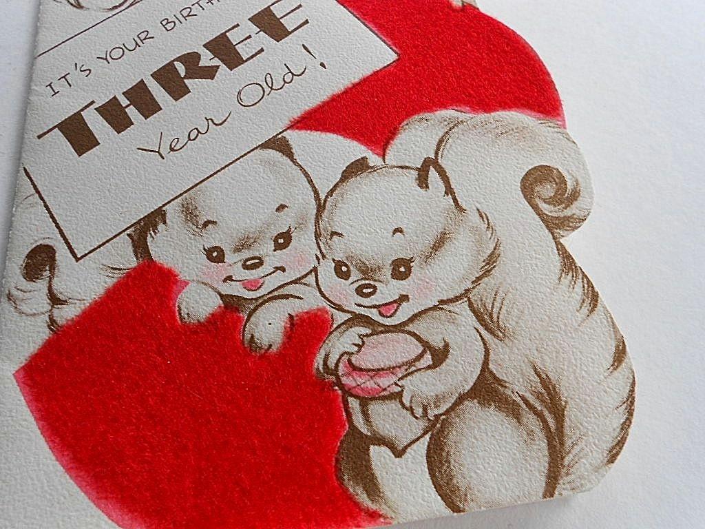 Vintage HAPPY BIRTHDAY CARD Baby Boy Girl 3 Year Old Squirrel