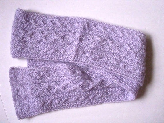 Women cable pattern scarf  Lavender color  Hand knitted  Ready to ship