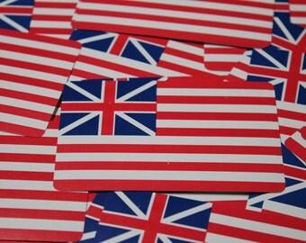 Vintage Playing Cards Grand Union Flag 1776 first flag Continental Army US flag red white blue vintage ephemera paper ephemera scrapbook 6pc