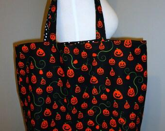 Pumpkin Jack-O-Lantern Tote Bag - Halloween trick or treat candy bag