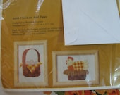 "Vintage Creative Circle Crewel Embroidery Kit ""Chicken and Eggs""  Two Pieces"