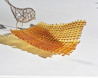 Amber Woven Fused GLass Art Dish With Iridescent Shimmer
