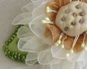 Reserved for Marsha J - Handmade Ivory Organdy Flower Pin - Handmade Flower Brooch - Handmade Silk Flower Pin