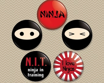 Ninjas 1 inch Magnet Set of 5 (M0058)