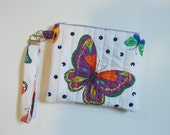 Butterfly zippered wristlet, Zippered Purse, Butterfly,  Wristlet, Bags and  Purses, Machine Quilted, IPhone wristlet, Accessory, Wallet
