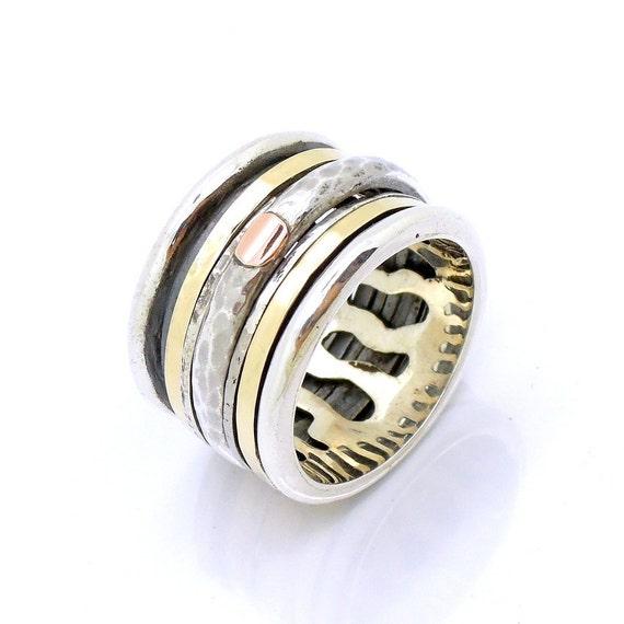 Brede Zilveren Ring Gehamerd Goud Amp Zilver Kant Ring Spinner