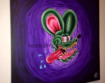Rat Fink Original Canvas Art