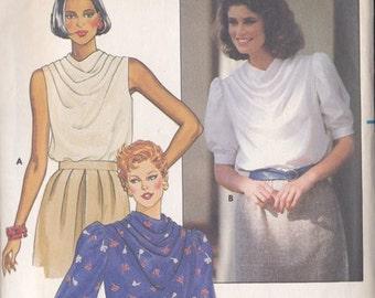 Misses Blouse Pattern Butterick 6638 Size 16 Pattern ~ Cowl Neckline ~ Pleated Shoulders ~ Cut But Complete