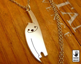 Slow happy SLOTH Handmade Sterling Silver .925 Necklace in a gift box