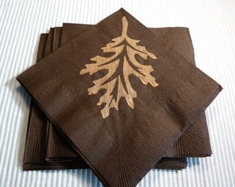 Fall Leaf Paper Cocktail/Lunchoen/Dinner Napkins - Brown and Orange