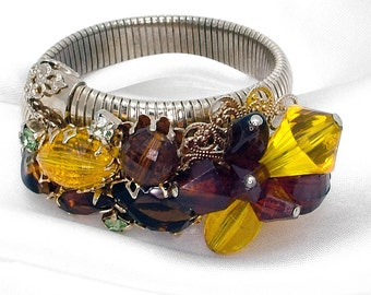 Vintage Expansion Bracelet Wrap Gold Tone Stretch Coil Beaded & Rhinestone Cluster