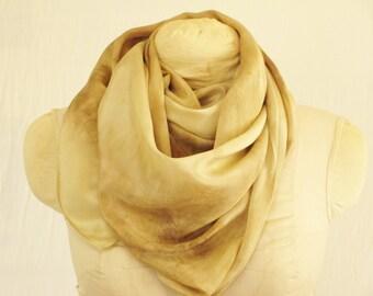 "Silk Scarf - Eco Gift - Natural Dye - FC041506 - 14""x70"" (35 x 177 cm)"