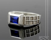 TARDIS Ring Solid Sterling Silver -  With Lab Sapphire