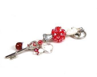 Red Beaded Key Chain / Sun Catcher ~ heart, cupcake, crystals, sparkling, angel wing, charm, handmade, Valentine,