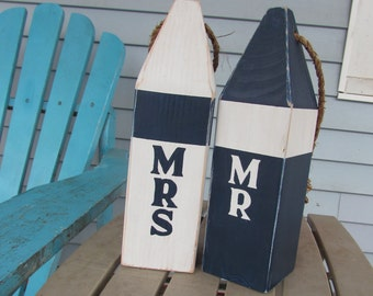 Custom Mr and Mrs Buoy Set. Reclaimed Wood Buoys. Nautical wedding decor. Beach Wedding Decor. Made to Order