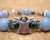 Archangel Bracelet, angelite and seraphinite, for help from angels, fits 6 1/2 inch wrist