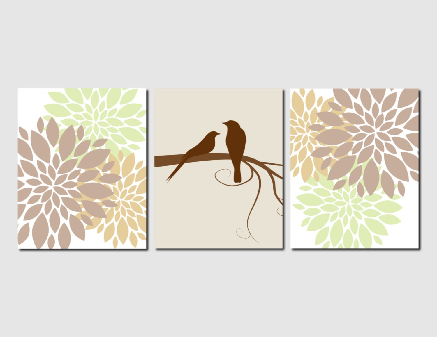 Wall Art Flowers And Birds : Brown green wall art birds bathroom decor flowers bedroom