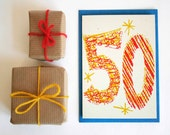 Magic Numbers 50th Birthday Hand Printed Card