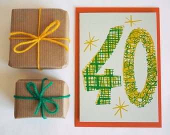Magic Numbers 40th Birthday Hand Printed Card - Birthday Card - Screen Printed Card