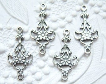 4 - Antiqued silver small filigree connectors  -MH100