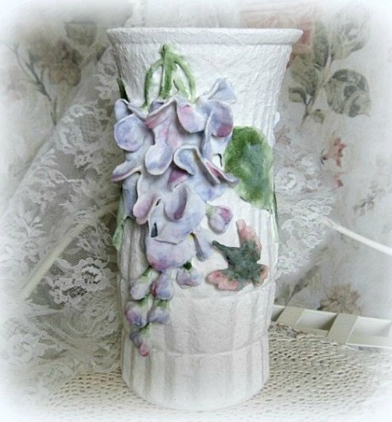 Clay flower vase decor art vase white vase decorative vase - Great decorative flower vase designs ...