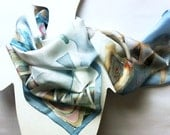 Blue lines silk scarf ponge .light blue scarf- handpainted silk scarves collection- long scarf- 18 x 72 inch/ 180 x 45 cm size