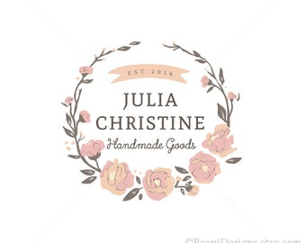 Flower Wreath Logo Design Peoni Ranunculus Roses Botanical Leaves Banner Vintage Style Premade OOAK Hand Drawn By ReaniDesigns on Etsy