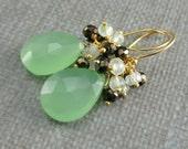 Green Chalcedony Cluster Earrings, Prehnite, Pyrite, Lime Green Gold Earrings, Wire Wrapped Green Gemstone Gold Dangle Earrings