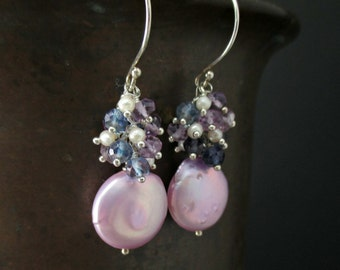 Coin Pearl Earrings, Lilac Lavender Freshwater Pearl, Iolite, Pink Amethyst, Sterling Silver Wire Wrapped Pearl Cluster Earrings