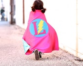 Super Hero Cape CUSTOM Girl Simple Girl Easter gift - personalized letter in Hot Pink and Turquoise holiday