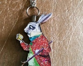 I'm Late, White Rabbit Necklace-Alice In Wonderland