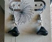 Black Czech Glass Flower Earrings