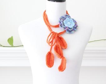 Crocheted Orange Blue Pink lariat, Scarf, Necklace, Scarflette
