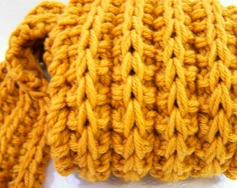 Washable Merino Wool Long Scarf, Long Chunky Knit Ribbed Scarf, Big Knit Wool Scarf, Knit Scarf in Mustard Gold, Scarf for Men or Women