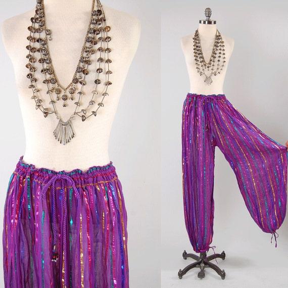 Vintage purple sheer gauze INDIA harem pants by ...
