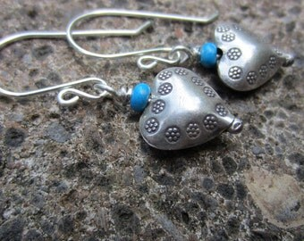 Hill Tribe Silver and Turquoise Dangle Earrings