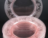 Woodland, Fox & Hounds Pink Dinner Plates, (6 Available)