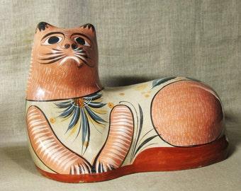 Mexican Folk Art Cat , Tonala Pottery , Feline , Very Large , Ceramic Cat , Handmade , Hand Painted , Mexican Folk Art , Latin American Art