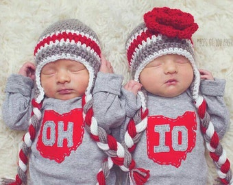 "Grey State of Ohio ""OH-IO"" Set of Bodysuits for twins (or SIBLINGS), ohio twins gift"