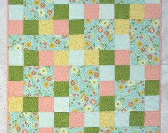 """Baby Girl Quilt, Peach, Aqua, Yellow, Green, 39"""" x 47"""", Homemade Quilt, Handmade Quilt"""