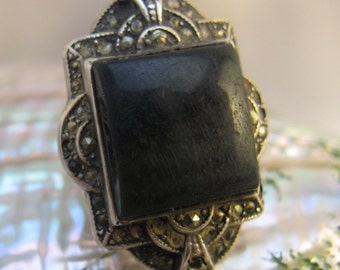 Vintage Ornate Art Deco  Sterling & Marcasite Ring w/ Blue Cat's Eye Glass, Size 5 - 5 1/2
